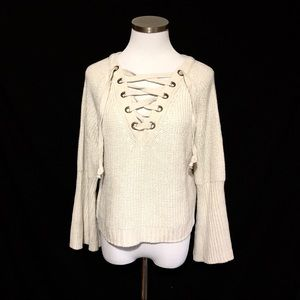 Oyster Shell Lace Up Sweater